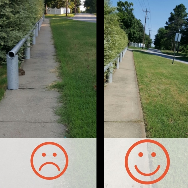A Before and After photo of a sidewalk. On the left side, the sidewalk is overgrown and the surrounding bushes are messy. On the right side, the sidewalk has been edged so it is free of overgrowth, the surrounding grass has been mowed, and the bushes have been trimmed.