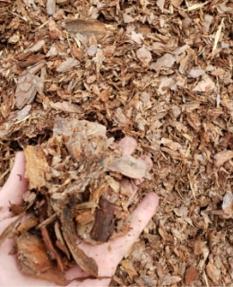 An example of what large pine bark mulch looks like.