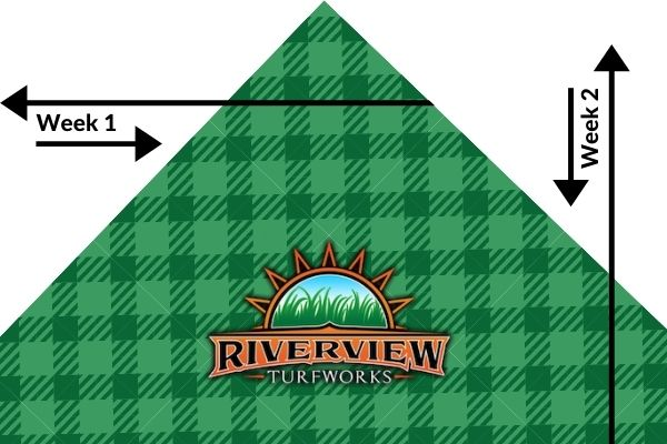 A diagram showing the perpendicular pattern Riverview Turfworks mows in during week one and two.
