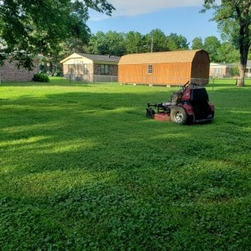 A lawn mower sitting on a lawn ready to be mowed.