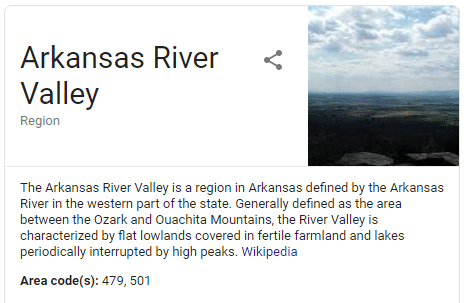 A screenshot taken of Wikipedia of the entry for Arkansas River Valley where Riverview Turfworks is located.