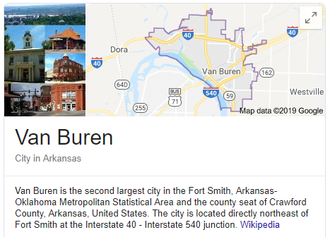 A screenshot of the wikipedia entry for Van Buren, where Riverview Turfworks is located.